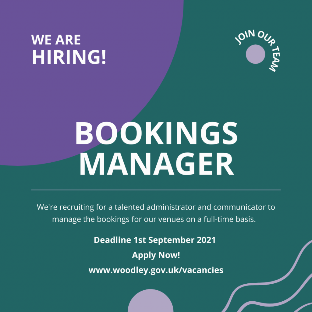 bookings manager vacancy Oakwood Centre