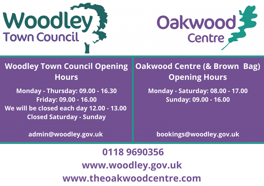 Woodley Town Council and Oakwood Centre opening hours